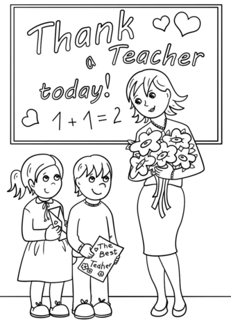 thank a teacher today coloring page free printable