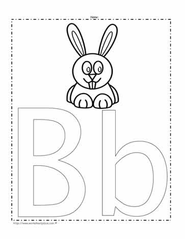 the letter b coloring page worksheets