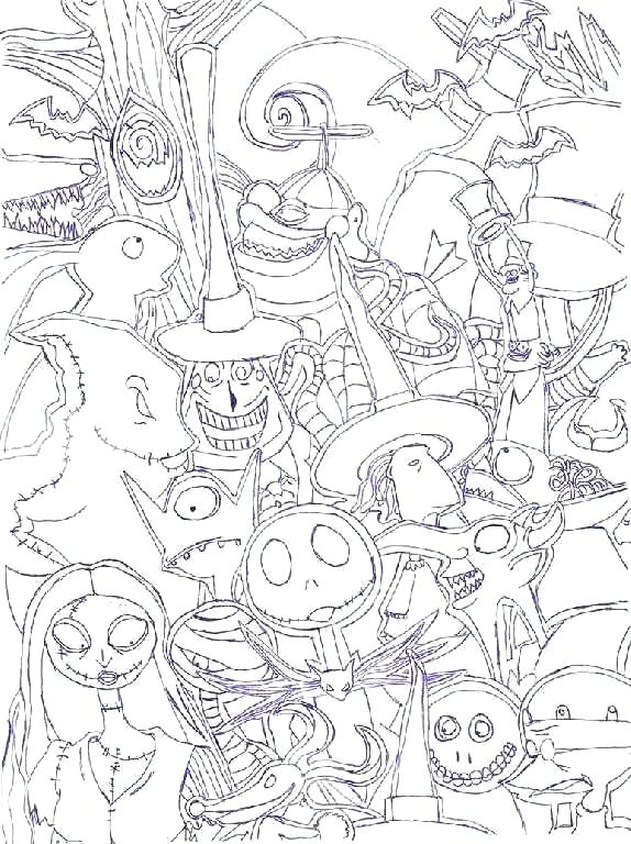 the nightmare before christmas coloring pages printable