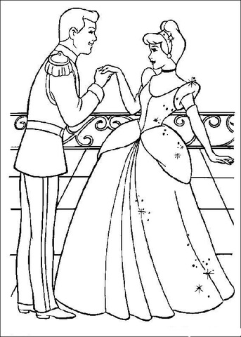 the prince likes cinderella coloring page free printable