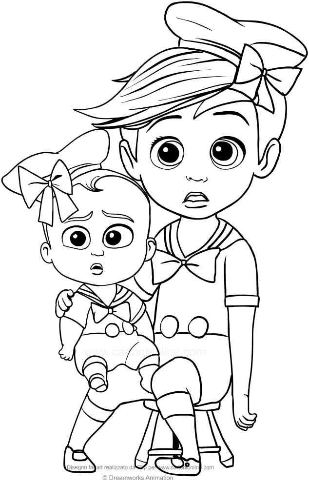 tim and boss ba with cute costume coloring page free