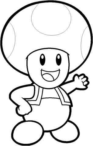 toad from mario bros coloring page free printable