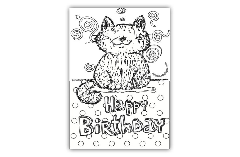 tomcat happy birthday card coloring page cats coloring pages