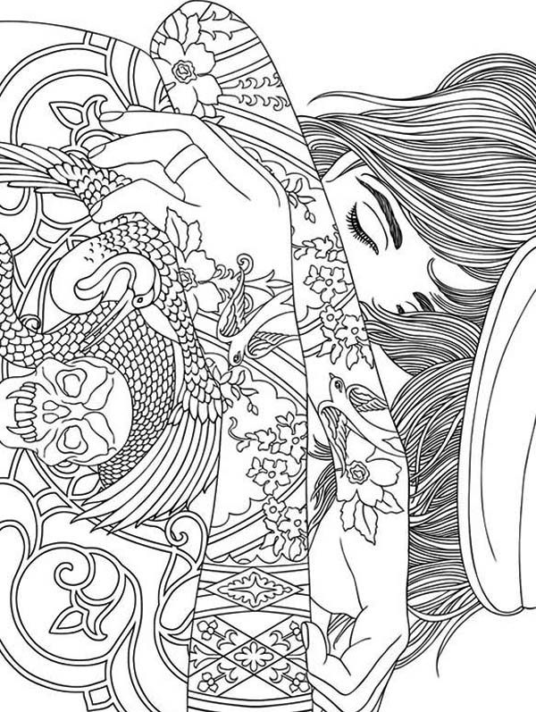 trippy coloring pages girl with tattoo cool coloring pages