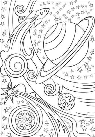 trippy space rocket and planets coloring page free
