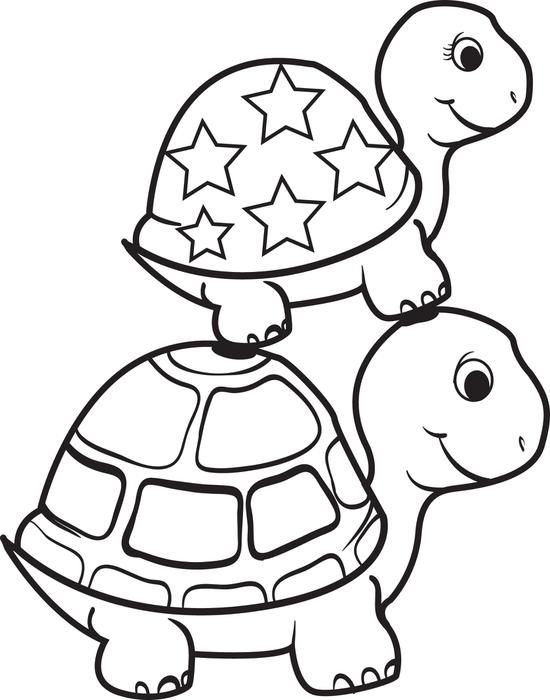 turtle on top of a turtle coloring page turtle coloring