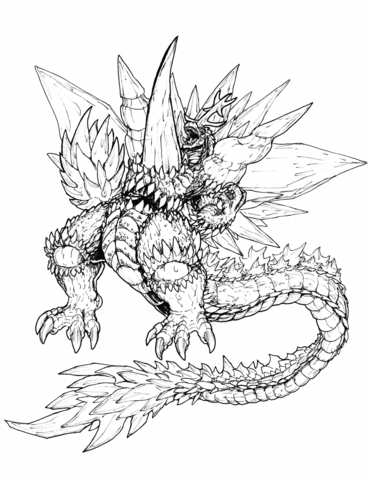 ultimate space godzilla coloring page free printable