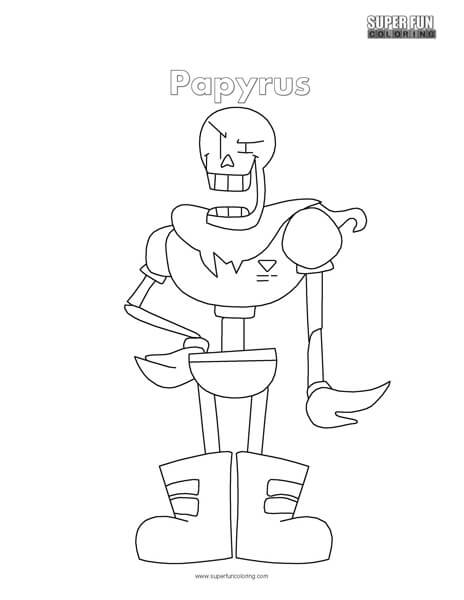undertale papyrus coloring page super fun coloring