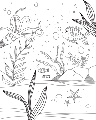underwater world coloring page free printable coloring pages