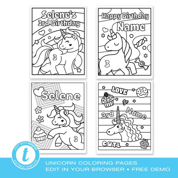 unicorn coloring pages editable text edit online using templett 4 designs instant download