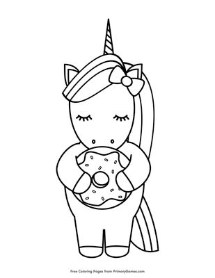 unicorn holding a donut coloring page coloring page free