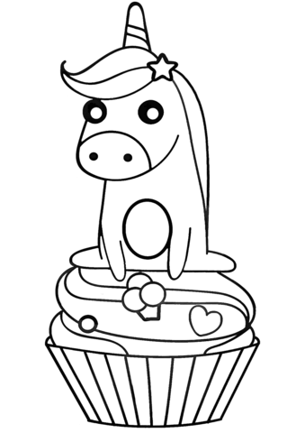 unicorn on cupcake coloring page free printable coloring pages