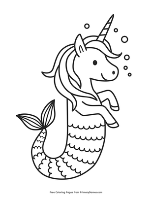 unicorn seahorse coloring page coloring page free