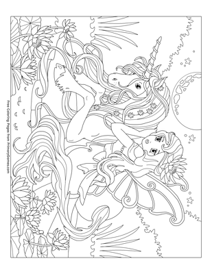 unicorn with a fairy coloring page coloring page free