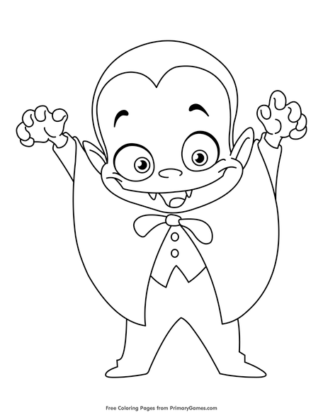 vampire coloring page free printable pdf from primarygames