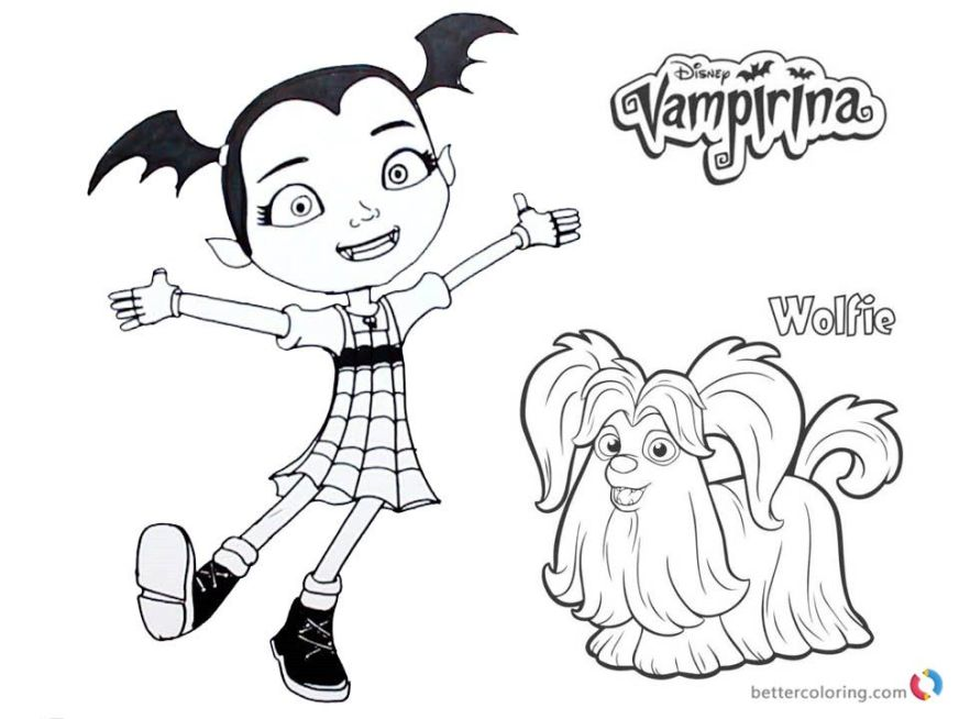 vampirina coloring pages vampirina and wolfie free