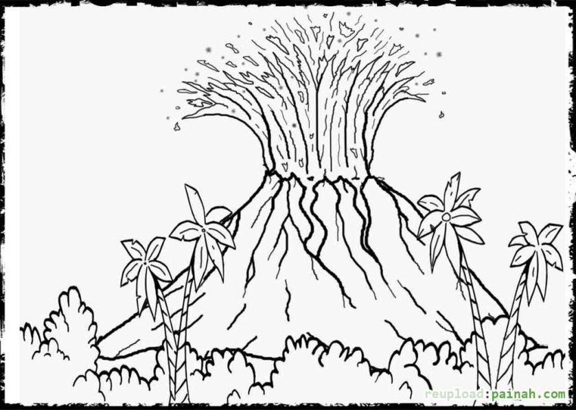 volcano coloring pages free for volcano landscape ideas