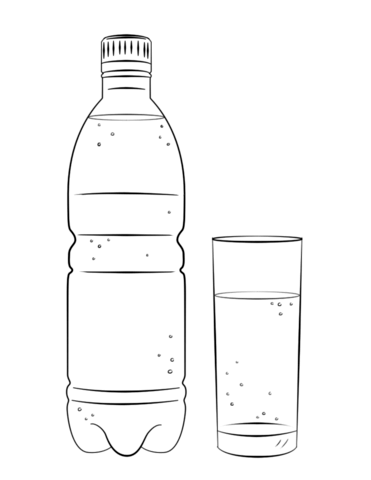 water bottle and glass coloring page free printable