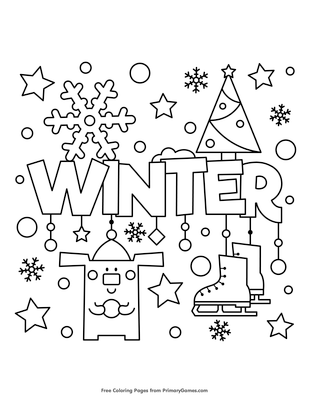 winter coloring page free printable pdf from primarygames