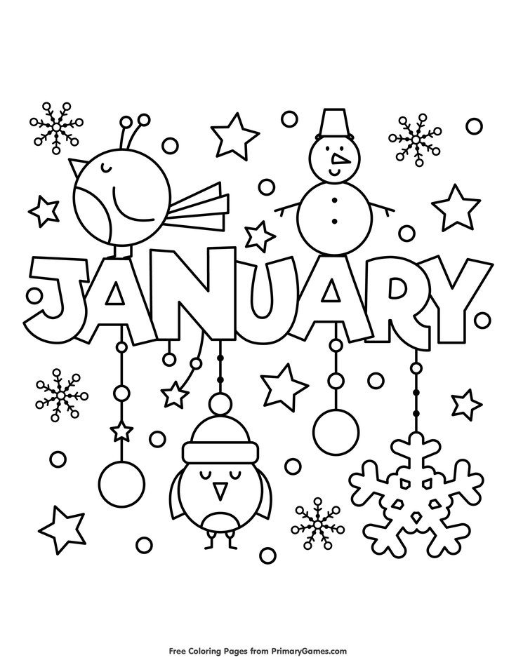 winter coloring pages ebook january bullet journal
