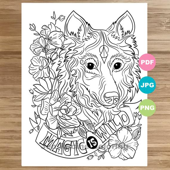 wolf coloring page magical animal animal art coloring page printable coloring pages for adults coloring pages for kids