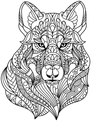 wolf head zentangle coloring page free printable coloring