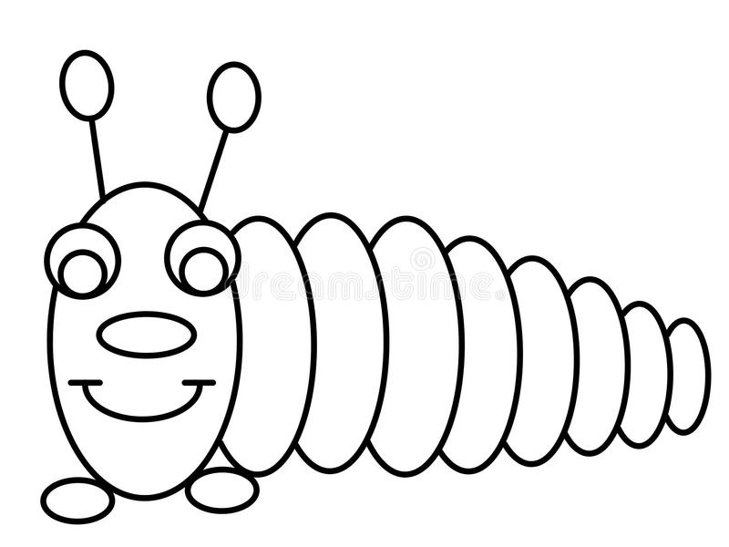 worm kids educational coloring pages stock illustration