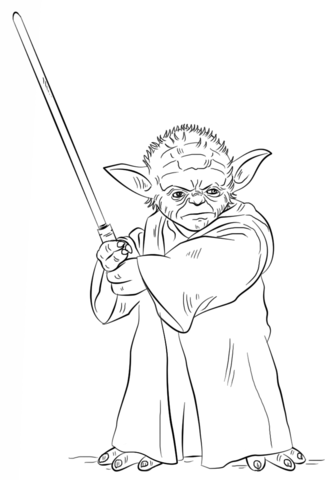 yoda with lightsaber coloring page free printable coloring