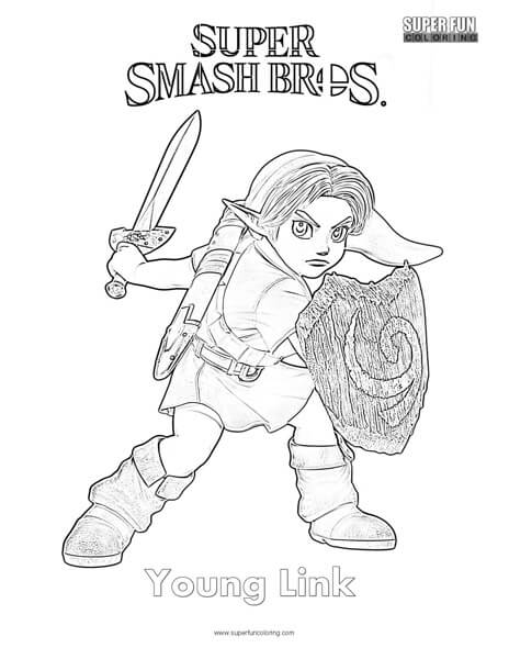 young link super smash brothers coloring page super fun