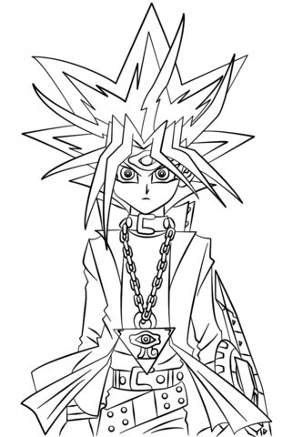 yugi muto from yu gi oh coloring page free printable