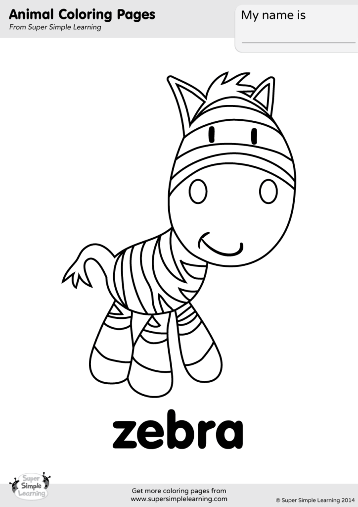 zebra coloring page super simple
