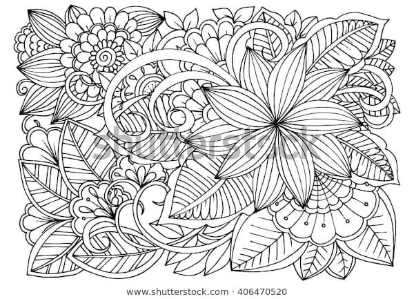 zentangle floral doodles black white coloring stock vector
