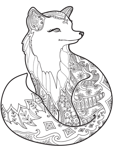 zentangle fox coloring page fox coloring page animal