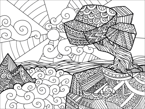 zentangle landscape free printable coloring pages
