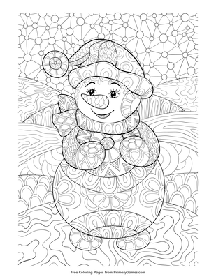 zentangle snowman coloring page free printable pdf from