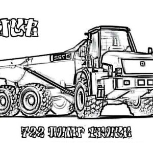 3 axle dump truck on mountain road coloring page kids