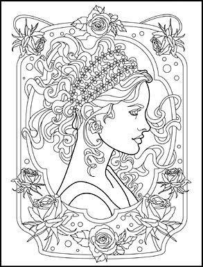 art nouveau animals and flowers adult coloring book