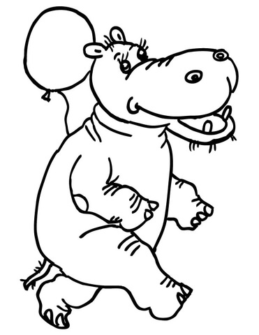 ba hippo with mother coloring page free printable