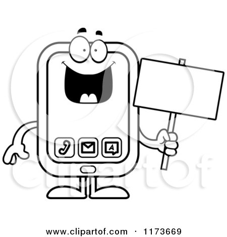 cartoon clipart of a happy smart phone mascot vector