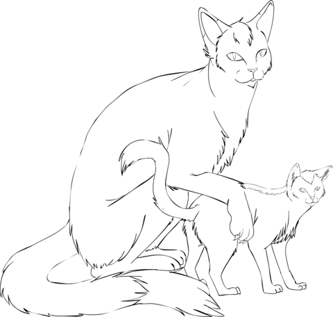 cat mother with kitten coloring page free printable