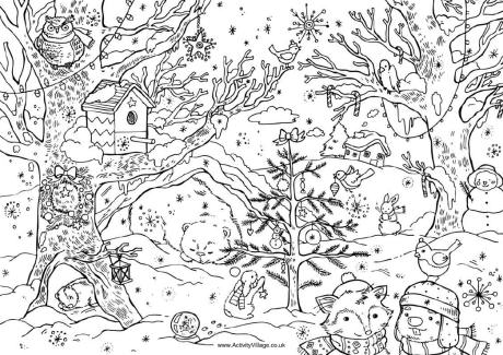 christmas woods colouring card