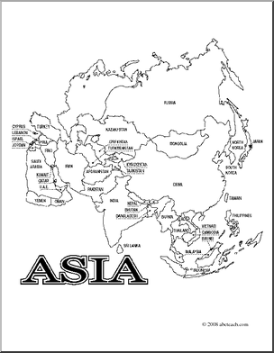 clip art asia map coloring page labeled preview 1