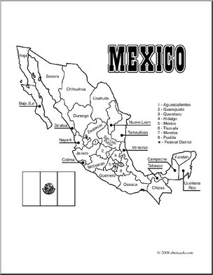 clip art mexico map coloring page labeled i abcteach
