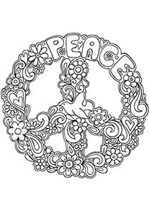 coloring page sign peace symbol free printable peace