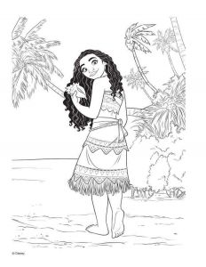 grown up moana with the shell coloring page moana