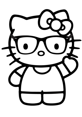 hello kitty nerd coloring page hello kitty coloring