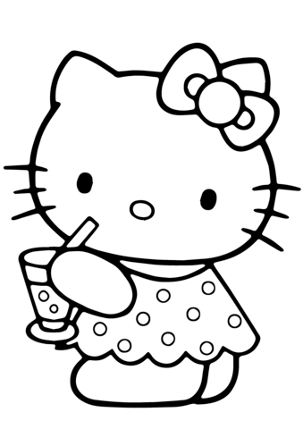 hello kitty summer coloring page free printable coloring