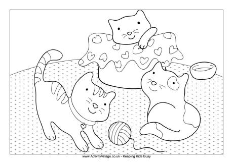 kittens colouring page