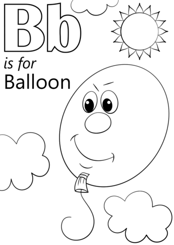 letter b is for balloon coloring page free printable