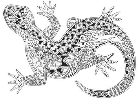 lizard abstract doodle zentangle paisley coloring pages